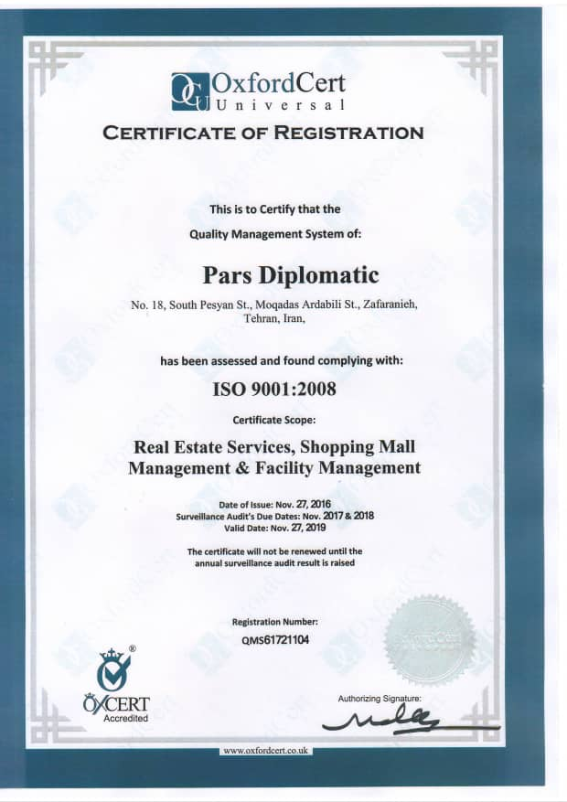 ISO9001 Certification Pars Diplomatic